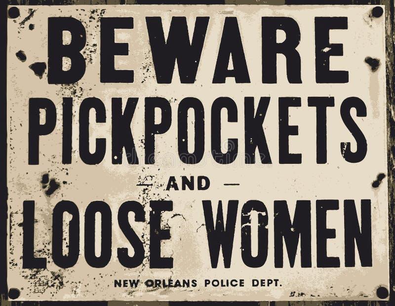 Passen Sie von den Taschendieben und von den losen Frauen auf stock abbildung