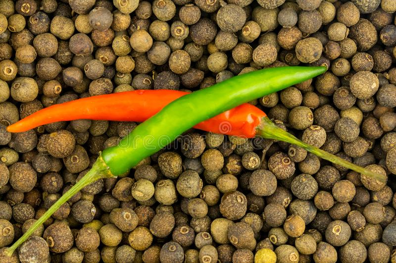 Passen Sie würziges Gewürz der roten Paprikas des Hülsenpfeffergrüns auf Erbsen eines großen wohlriechenden Pfeffers zusammen lizenzfreie stockfotos