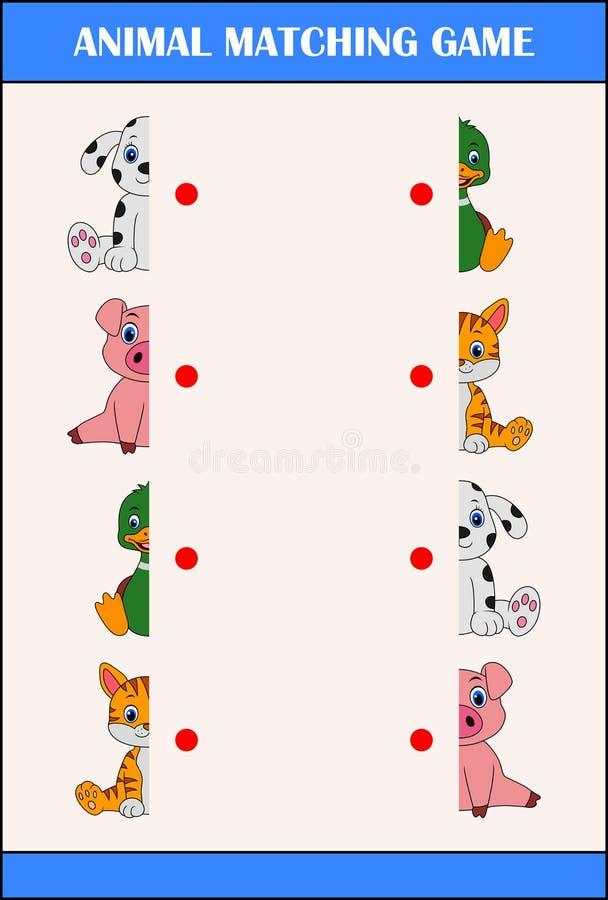 Passend de helftenspel met landbouwbedrijf dierlijke karakters stock illustratie