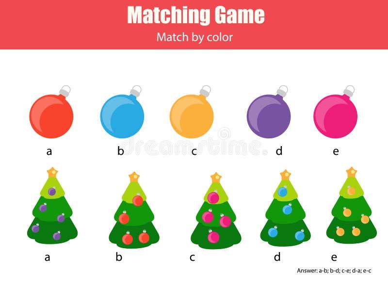 Passend kinderen onderwijsspel, gelijke door kleur vector illustratie