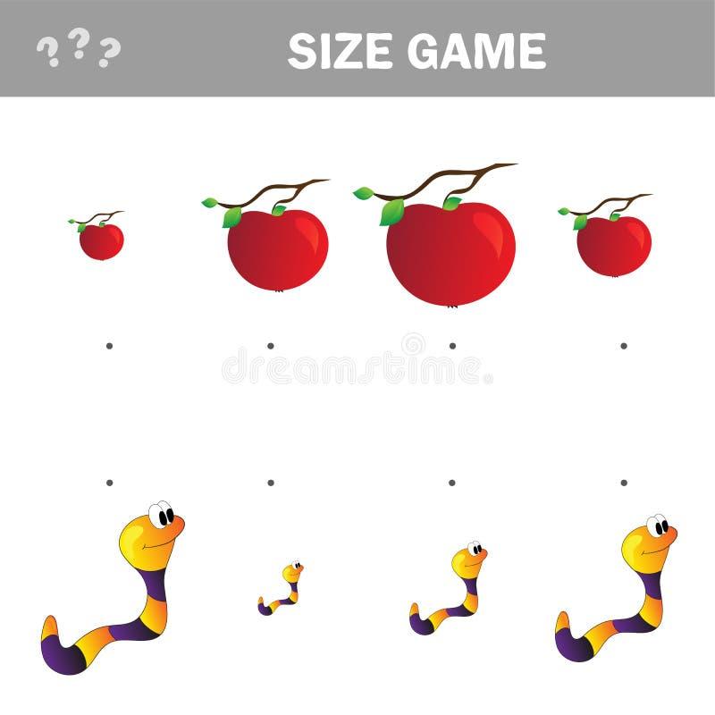Passend kinderen onderwijsspel Gelijke van beeldverhaalworm en appel aan grootte vector illustratie
