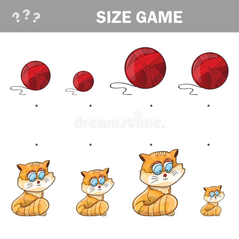 Passend kinderen onderwijsspel Gelijke van katten en bal van garen aan grootte vector illustratie