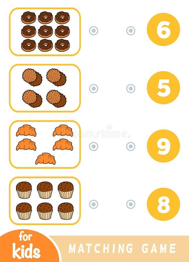 Passend onderwijsspel Tel hoeveel punten en het correcte aantal kies Een reeks snoepjes vector illustratie
