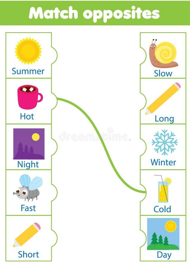 Passend spel Onderwijskinderenactiviteit gelijketegengestelden Activiteit voor pre scholl jarenjonge geitjes en peuters vector illustratie