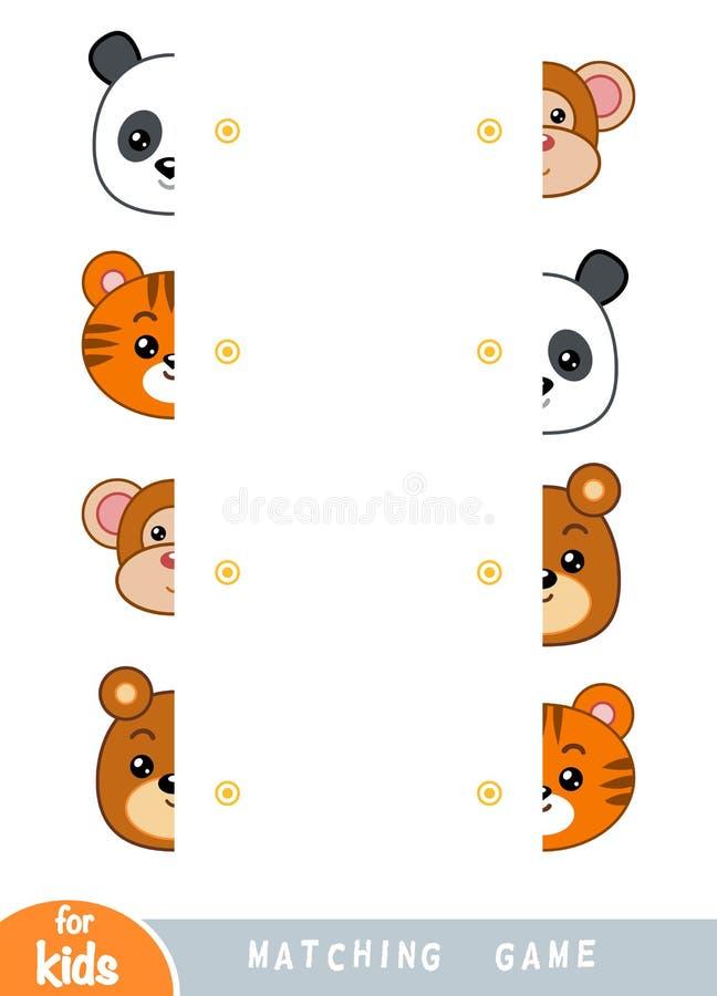 Passend spel, onderwijsspel voor kinderen Pas de helften aan Reeks dieren stock illustratie