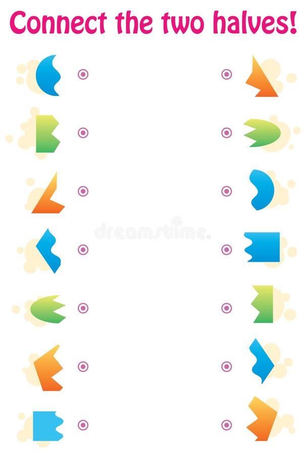 Passend spel - verbind de twee helften geometrische vormen vector illustratie