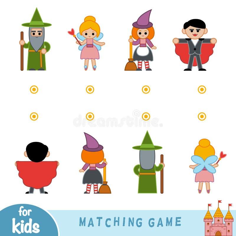Passend spel Vind de voorzijde en de rug van de karakters vector illustratie