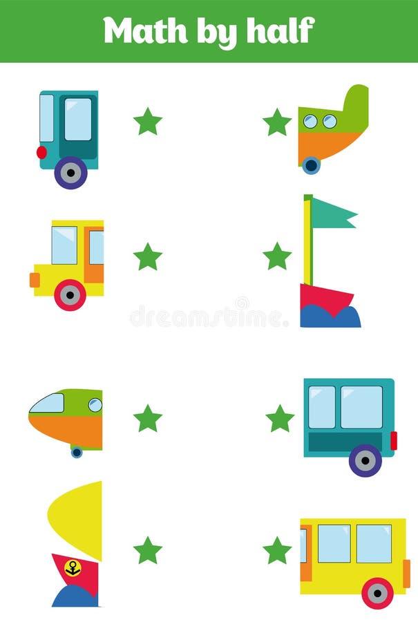 Passend spel voor de Illustratie van het kinderenbeeldverhaal van Peuteronderwijsactiviteit met de Aanpassing van de Helftenspel stock illustratie