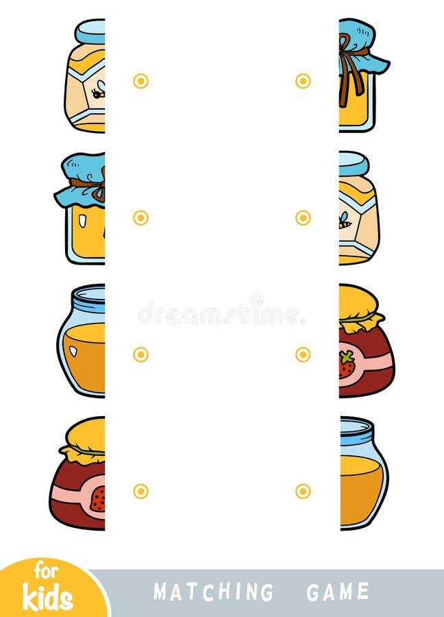 Passend spel, spel voor kinderen Pas de helften aan Een reeks kruiken honing en jam royalty-vrije illustratie