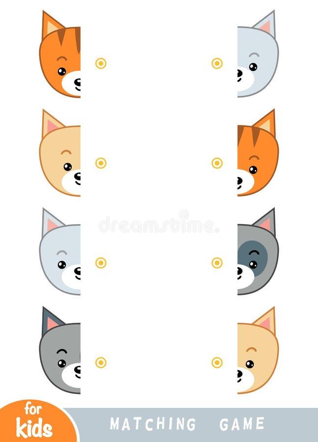 Passend spel, spel voor kinderen Pas de helften aan Reeks katten stock illustratie