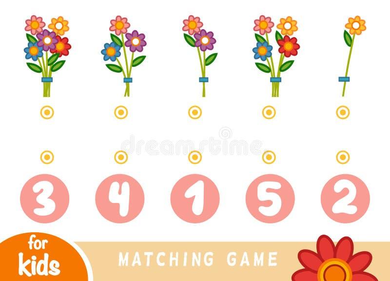 Passend spel voor kinderen Tel hoeveel bloemen en het correcte aantal kies stock illustratie
