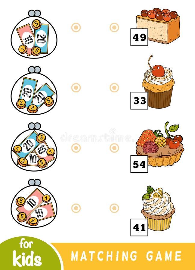 Passend spel voor kinderen Tel hoeveel geld in elke portefeuille is en kies de correcte prijs Een reeks desserts vector illustratie