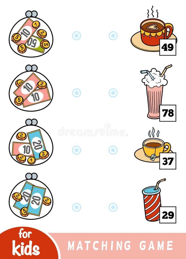 Passend spel voor kinderen Tel hoeveel geld in elke portefeuille is en kies de correcte prijs Een reeks dranken in de koffie vector illustratie
