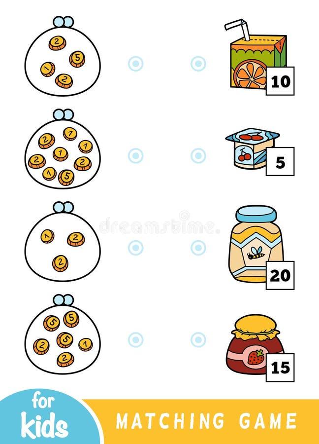 Passend spel voor kinderen Tel hoeveel geld in elke portefeuille is en kies de correcte prijs Een reeks verschillend voedsel op vector illustratie