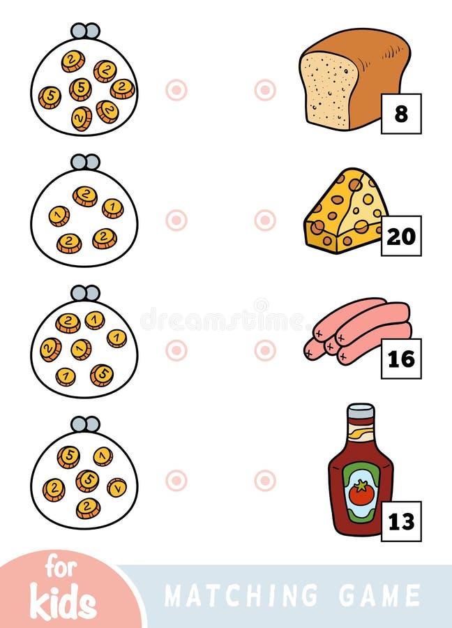 Passend spel voor kinderen Tel hoeveel geld in elke portefeuille is en kies de correcte prijs Een reeks verschillend voedsel op royalty-vrije illustratie
