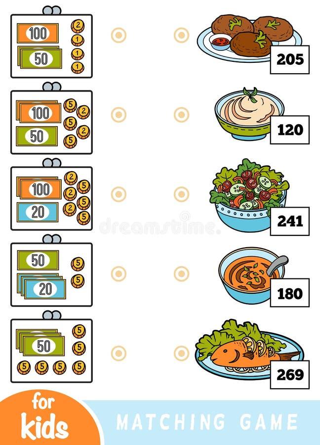 Passend spel voor kinderen Tel hoeveel geld in elke portefeuille is en kies de correcte prijs Een reeks verschillende schotels royalty-vrije illustratie
