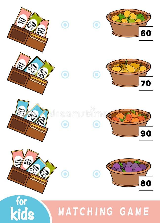 Passend spel voor kinderen Tel hoeveel geld in elke portefeuille is en kies de correcte prijs Een reeks vruchten stock illustratie