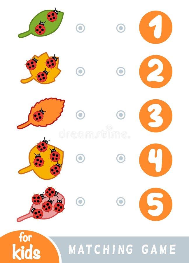 Passend spel voor kinderen Tel hoeveel insecten en het correcte aantal kies vector illustratie