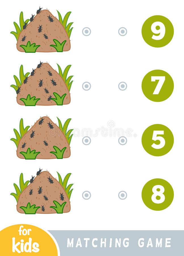 Passend spel voor kinderen Tel hoeveel mieren en het correcte aantal kies stock illustratie