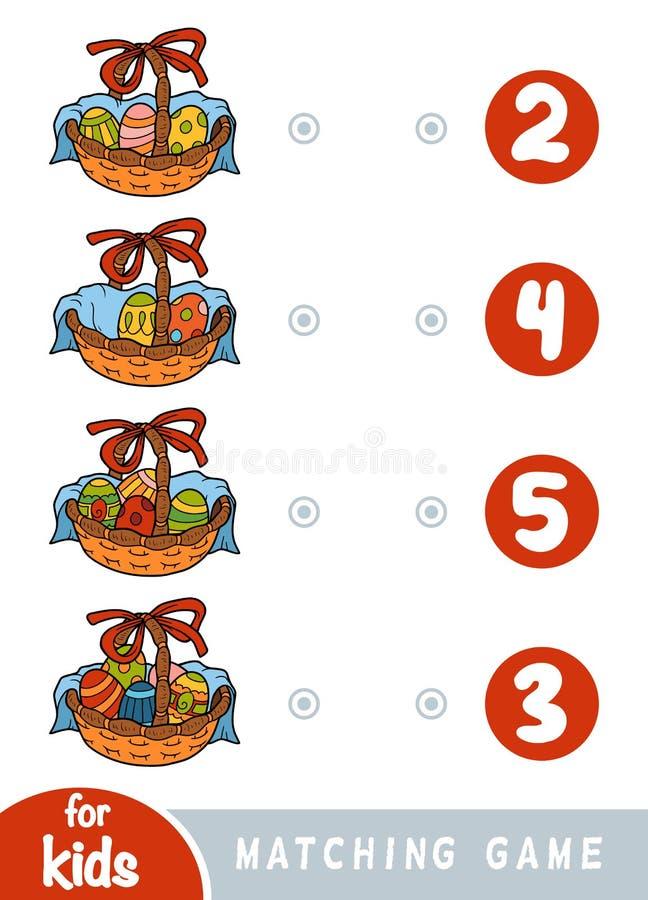 Passend spel voor kinderen Tel hoeveel paaseieren in de mand zijn en het correcte aantal kiezen royalty-vrije illustratie