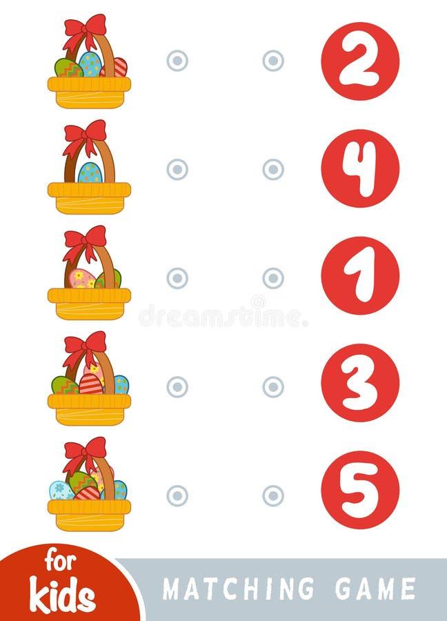 Passend spel voor kinderen Tel hoeveel paaseieren in de mand zijn en het correcte aantal kiezen vector illustratie
