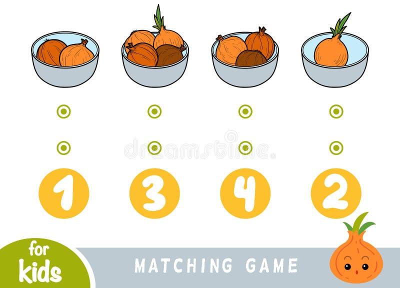 Passend spel voor kinderen Tel hoeveel uien en het correcte aantal kies vector illustratie