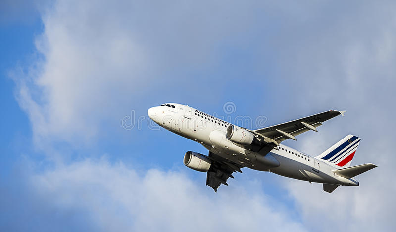 Passenger Aircraft in Air France Livery. Airbus A319. Airbus A319 in AIr France colours stock photos