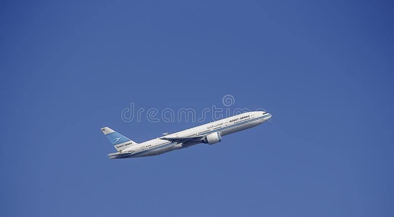 Passenger Aircraft in Kuwait Airways Livery. Boeing 777. Kuwait Airways Boeing 777 taking off stock image