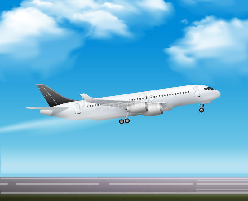 Passenger Airliner Takeoff Realistic Poster. Large modern passenger airliner jet takeoff realistic air transportation services advertisement poster blue sky stock illustration