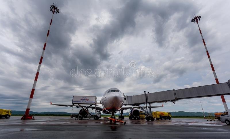 Passenger airplane Airbus A330-300 of Aeroflot company is getting ready to take passengers on a board. royalty free stock image