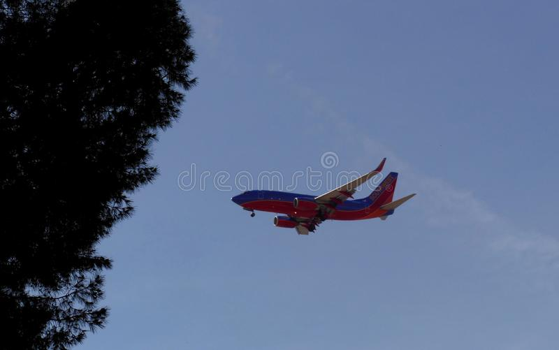 Passenger Airplane on Approach Landing stock photo