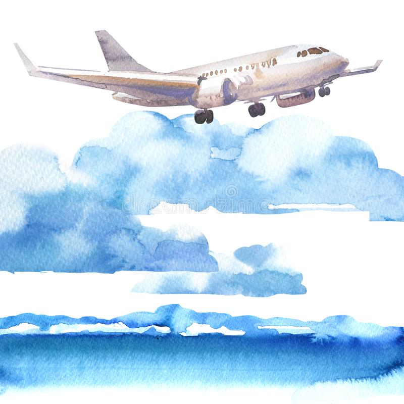 Passenger airplane in blue sky and cloud, flying jet, airliner landing over the sea, travel or vacation concept, hand. Drawn watercolor illustration on white vector illustration