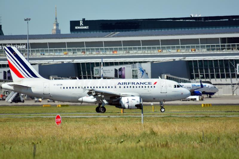 Passenger airplane F-GRXM - Airbus A319-111 - Air France is flying from the runway of Warsaw Chopin Airport stock photography