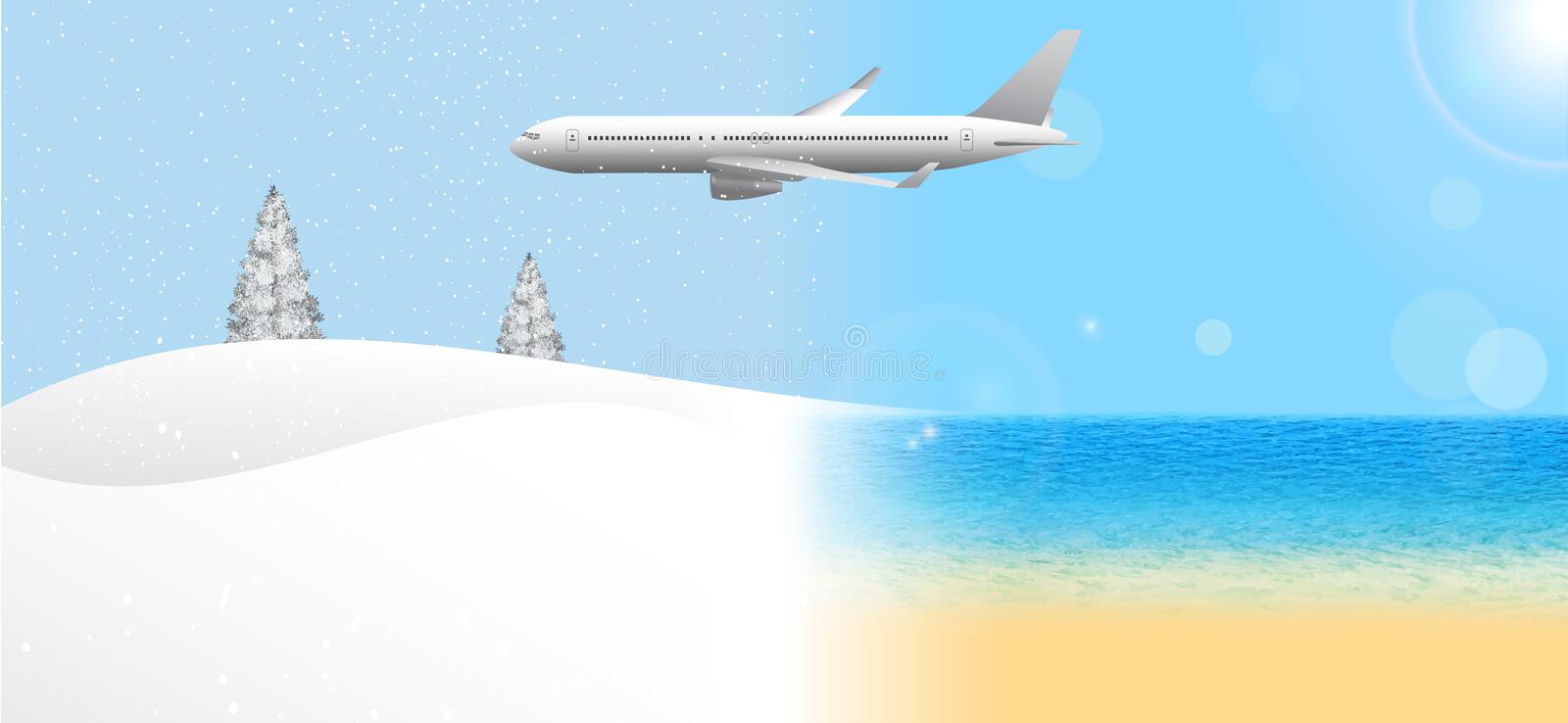 Passenger airplane flying from summer to winter. Travel from the warmer climate to the cooler. Banner concept, vector illustration vector illustration