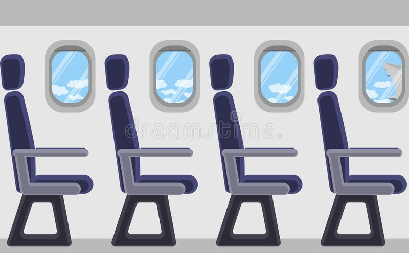 Passenger airplane from the inside. Portholes, seats. View of clouds and blue sky. Vector image royalty free illustration