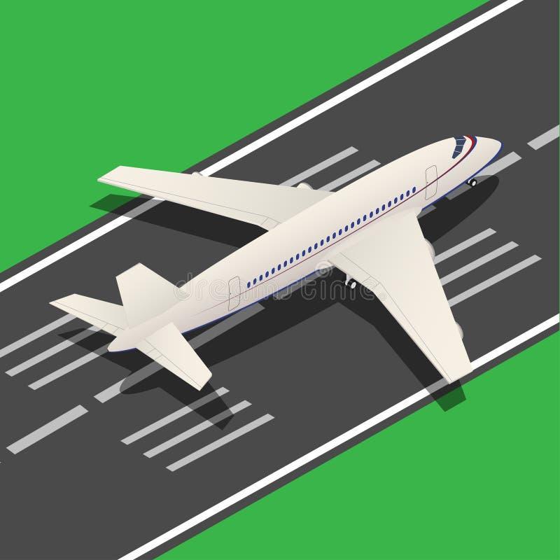 Passenger Airplane Isometric Landing. Vector. Passenger Airplane Isometric Landing from Runway. Vector illustration vector illustration