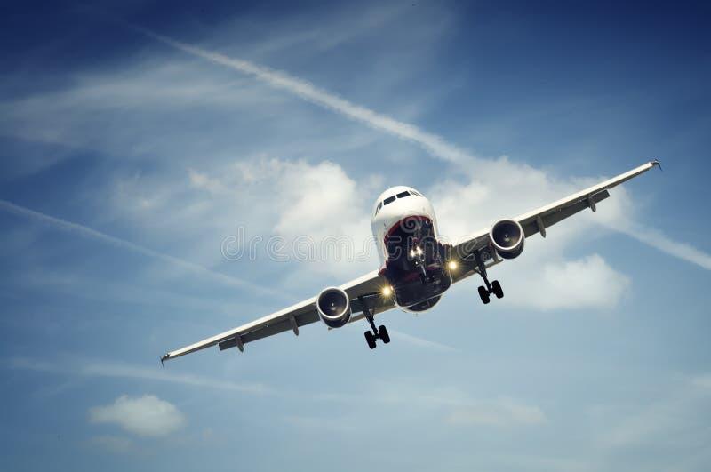 Passenger airplane landing stock images