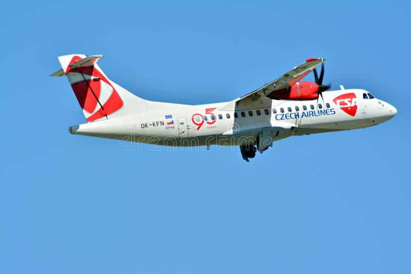 Passenger airplane OK-KFN - ATR 42-500 - Czech Airlines is flying from the runway of Warsaw Chopin Airport. Warsaw, Poland. 28 May 2018. Passenger airplane OK royalty free stock photos