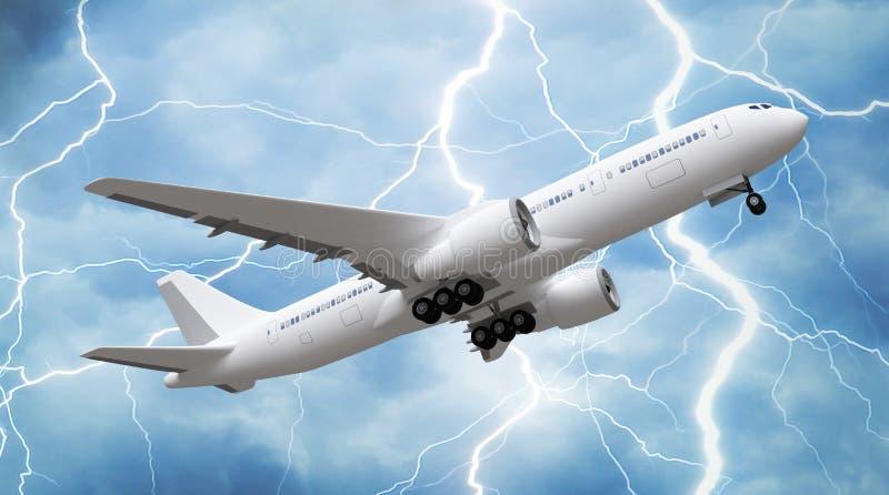 Passenger airplane rising in the sky. stock illustration