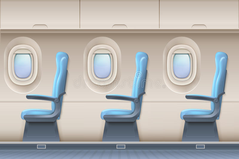 Passenger airplane vector interior. Aircraft indoor with comfortable chairs and portholes vector illustration