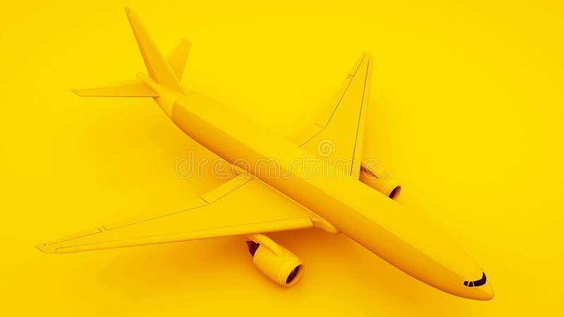 Passenger Airplane on Yellow Background. Isometric Concept. 3d illustration.  royalty free illustration