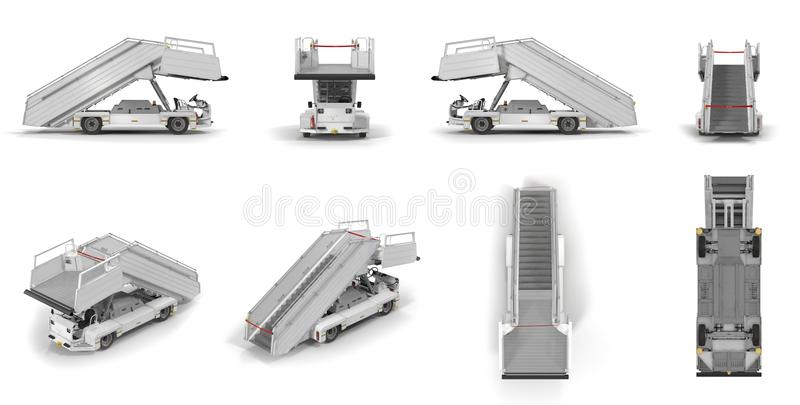 Passenger Boarding Stairs Car renders set from different angles on a white. 3D illustration. Passenger Boarding Stairs Car renders set from different angles on a royalty free illustration