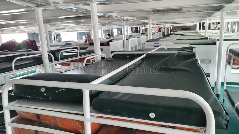 Passenger Bunk Beds in a Ferry Boat in the Philippines stock image