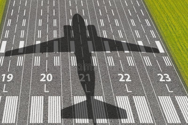 Passenger or cargo aviation business. Runway of airport with shadows of landing or taking off aircraft. Concept of avia tickets. And vacation flight poster vector illustration