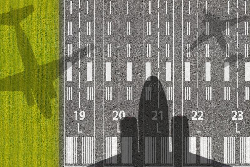 Passenger or cargo aviation business. Runway of airport with shadows of landing or taking off aircraft. Concept of avia tickets. And vacation flight poster stock illustration