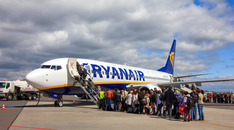 Passenger compartment of the aircraft company Ryanair stock photo