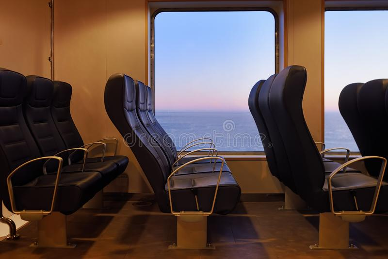 Passenger compartment on the sea ferry boat. Travel by sea on ferryships royalty free stock images