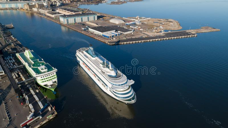 Passenger cruise ferry boat depart from Helsinki port to Tallin.  stock photo