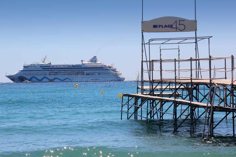 Passenger cruise ferry boat moves to port stock photos