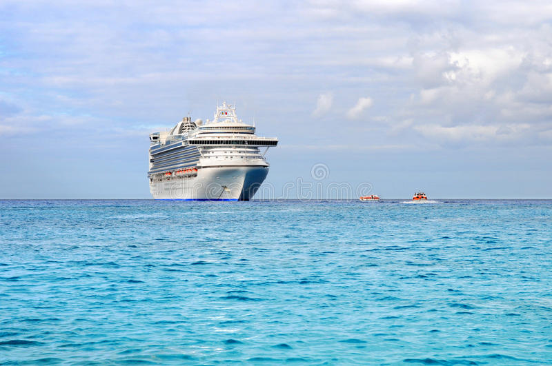 Download Passenger Cruise Ship And Tender Boats Stock Image - Image of beach, travel: 19170241